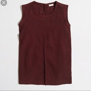 J.Crew Red Crepe Front Pleat Tank Top Blouse